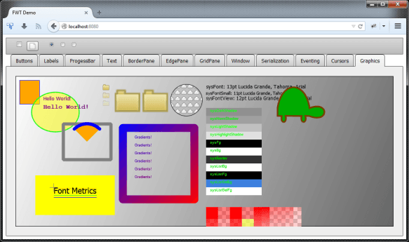 Screenshot of an FWT example running in a browser